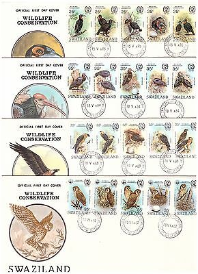 Swaziland 1982 To 1985 Wildlife Conservation Sets First Day Covers