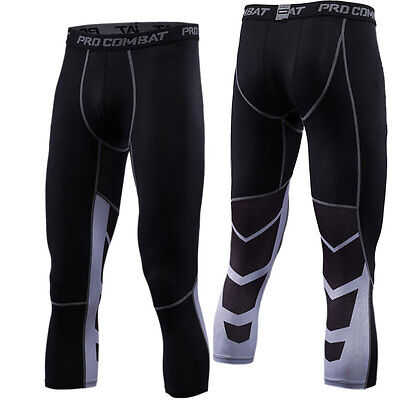 Men's Compression 3/4 Pants Workout Gym Sports Legging Running Cropped Black