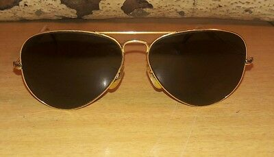 ray ban arista gold 75tz  Rare Vtg Ray Ban USA gold/black aviator pilot sunglasses!
