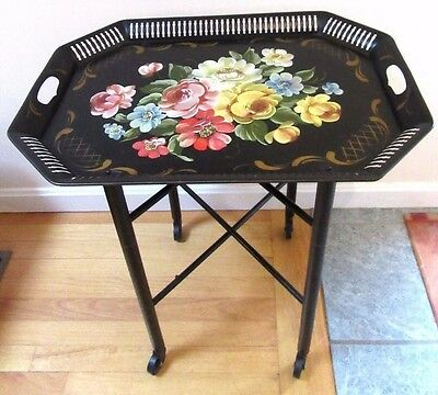 Vtg Antique Black Tole ROSE Hand Painted BUTLER SERVING TRAY TABLE  VGC WHEELS