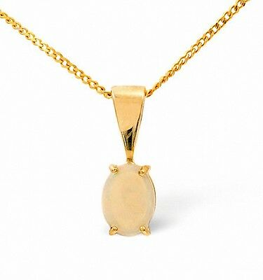 Opal Pendant Yellow Gold Opal Solitaire Necklace 7 x 5mm Stone