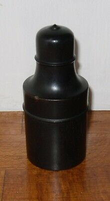 "Vintage/Antique? Turned Ebony Case with Glass Perfume Bottle - 3.5"" High"