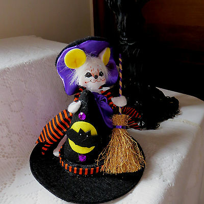 """ANNALEE HALLOWEEN 5"""" WITCH HAT MOUSE - #300708 - NWT- 2008- POSABLE - w/grin"""