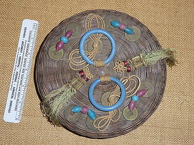 """Antique  Chinese 7"""" Sewing Basket w Original  Glass Beads, Coins, Rings, Tassles"""