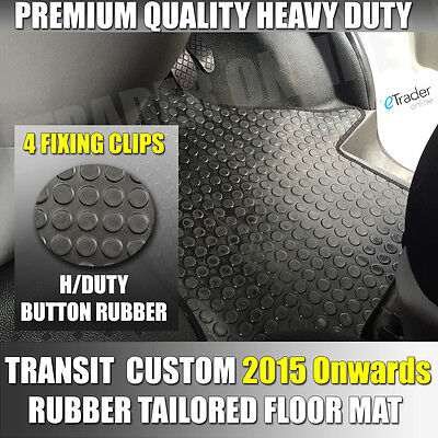 FORD TRANSIT CUSTOM RUBBER FLOOR MATS 4 Clip 2015> MAT FRONT TAILORED FIT VAN