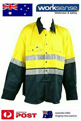Mens Hi Vis Work Shirt Size S Yellow/Green with 3M Reflective Tape BNWT Safety