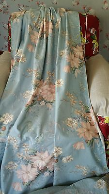 VTG Barkcloth Era Polished Cotton Chintz Curtains Drapes Panels Fabric Yds NOS