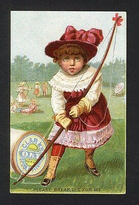 CLARK'S O.N.T. Spool Cotton Trade Card 1880's LITTLE GIRL Bow Arrow Practice