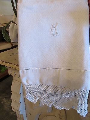 "Antique EUROPEAN Huck LINEN & Crochet LACE BATH TOWEL 24"" by 42"" Monogram K"