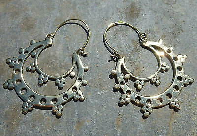 One Pair of Large Ethnic Tribal BRASS EARRINGS - Circle Moon