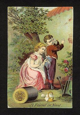 MERRICK Sewing Thread Trade Card 1880's - Girl Mending Boy's Pants