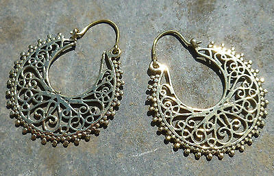 One Pair of Large Ethnic Tribal BRASS EARRINGS - Indian Elegance