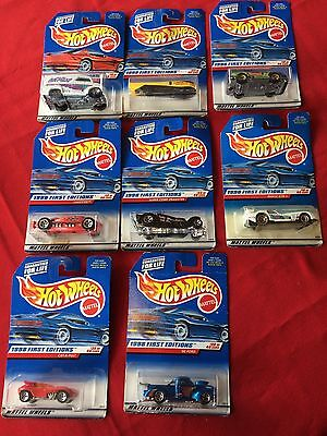Vintage Hot Wheels Eight, 1998 First Editions Car Collection, on cards