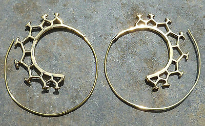 One Pair of Large Ethnic Tribal BRASS EARRINGS - Cosmic Tribe