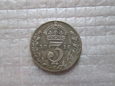 1916 Britain 3 Three Pence Silver Coin Free Shipping KM# 813