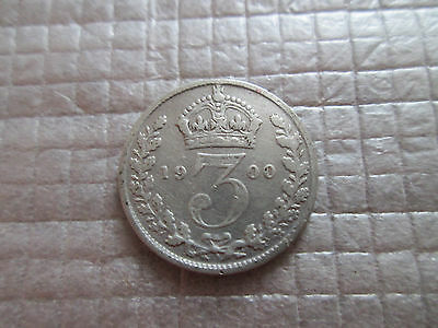 1900 Britain 3 Three Pence Silver Coin Free Shipping KM# 777