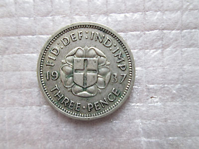 1937 Britain 3 Three Pence Silver Coin Free Shipping KM# 848