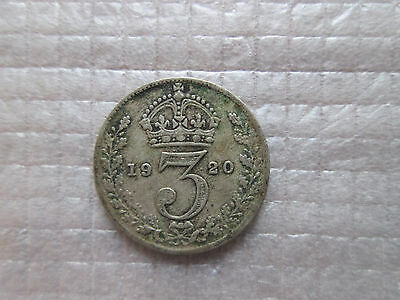 1920 Britain 3 Three Pence Silver Coin Free Shipping KM# 813a