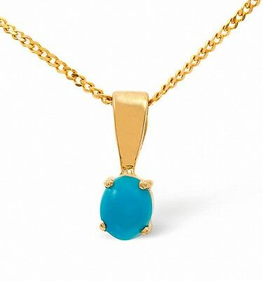 Turquoise Pendant Yellow Gold Turquoise Solitaire Necklace 5 x 4mm Stone