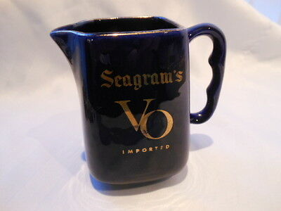 Vintage Seagram's VO Canadian Whiskey Water Pitcher Bar Pub Jug Trimmed in Gold