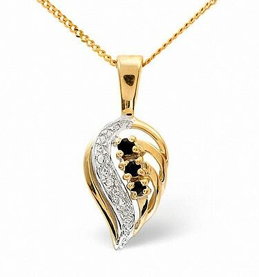 Sapphire and Diamond Pendant Yellow Gold Leaf Necklace  Appraisal Certificate
