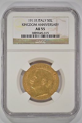 1911-R Italy 50 Lire Gold 50th Anniversary of the Kingdom NGC AU55 3889045-015