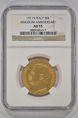 1911-R Italy 50 Lire Gold 50th Anniversary of the Kingdom NGC AU55 3889045-017