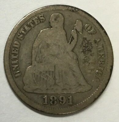 1891-S 10C Seated Liberty Dime #