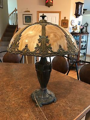 Beautiful Antique Slag Glass Table Lamp