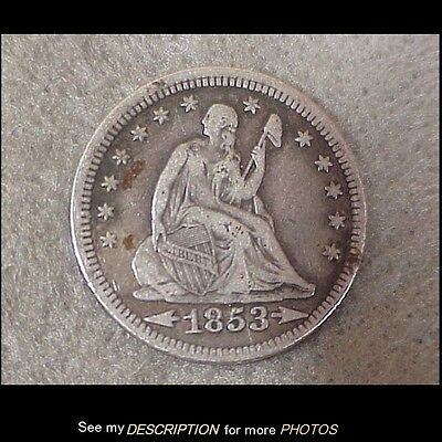1853 US Seated Liberty Quarter Dollar 25 Cent Coin Very Fine