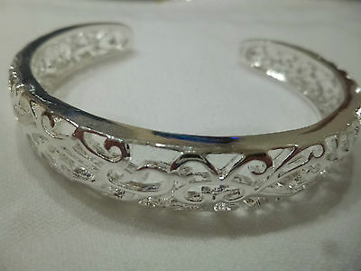 Sterling Silver 925 Bangle Bracelet Cuff Cut Out Design Adult Size STUNNING