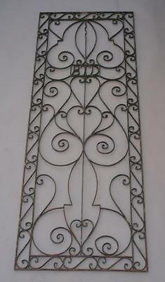 1920s Decorative Wrought Iron Grill Antique Spanish Revival Vintage Tudor (4838)