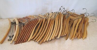 Vintage (38) Pc Mixed Lot Wood & Metal Classic Clothes Hangers Advertising
