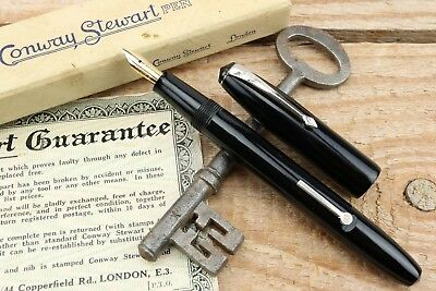 Conway Stewart 15 Fountain Pen In Black With Nickel Plate Trims - Un-inked 1949