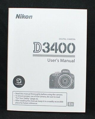 Nikon D3400 Digital Camera User's Manual Guide Book Brand New.