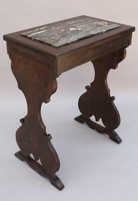 1930s Marhall Laird Carved Wood Side Table w Marble Antique Tudor (5433)