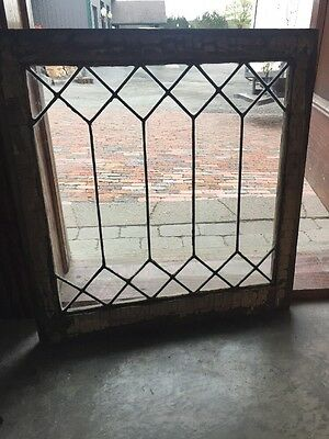 Sg 1402 Antique Geometric Leaded Glass Window 20 4W By 20 5H