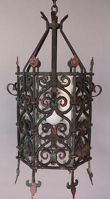 Large Wrought Iron Pendant w Glass Antique Spanish Revival Light (6217)