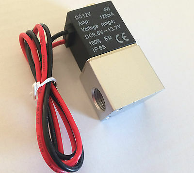 """New 1/4"""" 2 Way Solenoid 12v Normally Closed Pneumatic Air Valve Co2 Gas Water"""