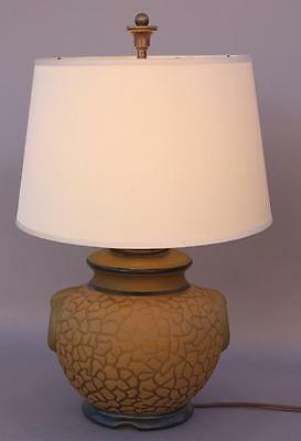 1930s Antique Glass Table Lamp Vintage Light Craquelure Lighting (6223)