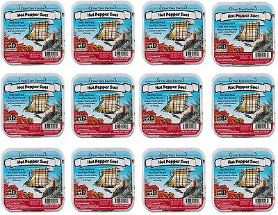 12 Pack Pine Tree Farms Hot Pepper Suet Cake 12 oz. Made in USA