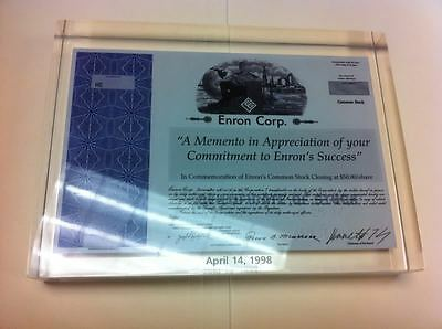 Enron Stock Certificate Minature Encased in Lucite Dated April 14 1998
