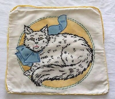 """WOW!  Vintage Embroidered Cat Pillow Cover 14""""x13"""" ~ Nice!"""