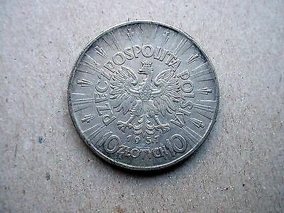 1937 Poland 10 Zlotych Silver Coin - Must See