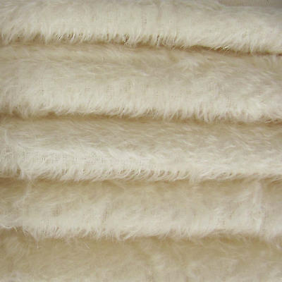 """1/6 yd 300S/C White INTERCAL 1/2"""" Ultra-Sparse Curly S-Finish Mohair Fur Fabric"""