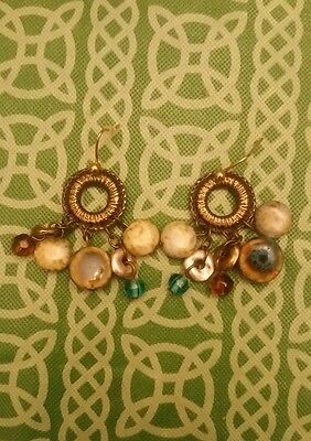 Chicos Vintage Style Brass Tone Dangle Unique Flamboyant Earrings FREE SHIPPING