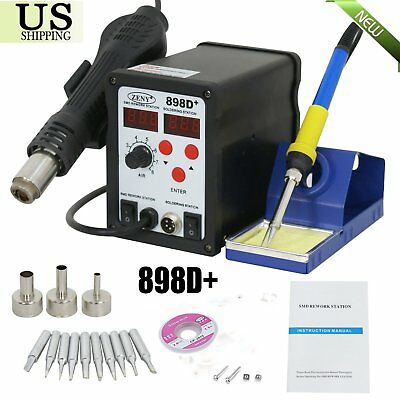 2in1 898D+ Soldering Rework Station Hot Air & Solder Iron Welder ESD W/Nozzles Y