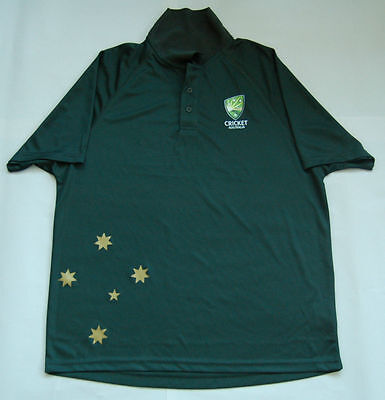 Australia Cricket Odi Large Polo Shirt Brand New Green Gold