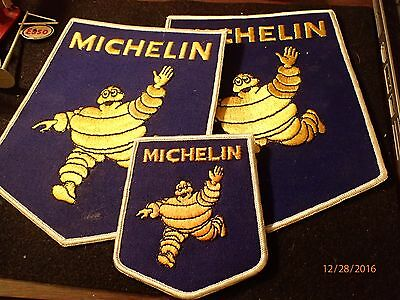 Vintage Two Large, One Small Michelin Tireman Embroidered Patches.