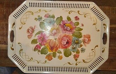 Vintage Hand Painted Serving Tray Toleware Metal